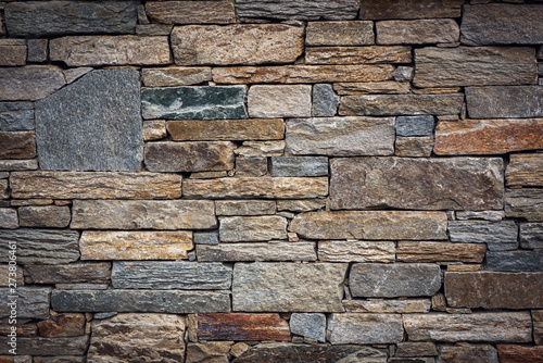 Spoed Fotobehang Baksteen muur Abstract Stone Texture Background of Wall Fence, Home Architecture and Gardening Decorative Design, Architectural Granite Walling of Exterior and Interior Decor. Pattern Backgrounds for Housing