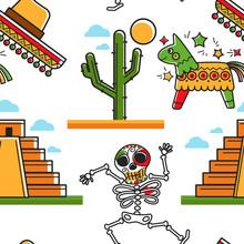 Mayan Pyramid And Skeleton Sombrero And Cactus Tree Pinata