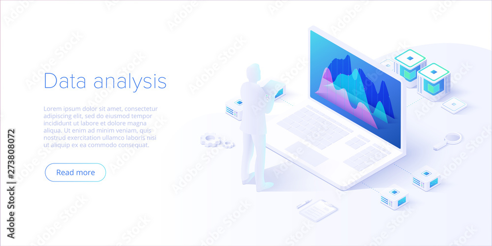 Fototapety, obrazy: Data analysis in isometric vector design. Technician in datacenter or data center room background. Network mainframe infrastructure website layout. Computer storage or farming workstation.