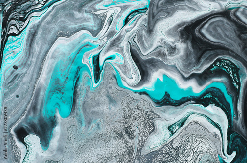 Photo sur Toile Cristaux photography of abstract marbleized effect background. black, light turquoise and white creative colors. Beautiful paint