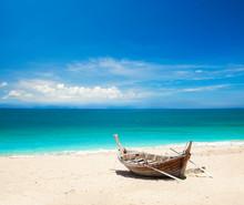 Beach And Fishing Boat, Koh La...