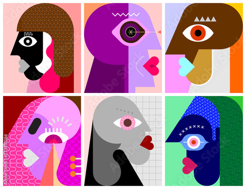 Fotoposter Abstractie Art Six Faces / Six Persons vector illustration.