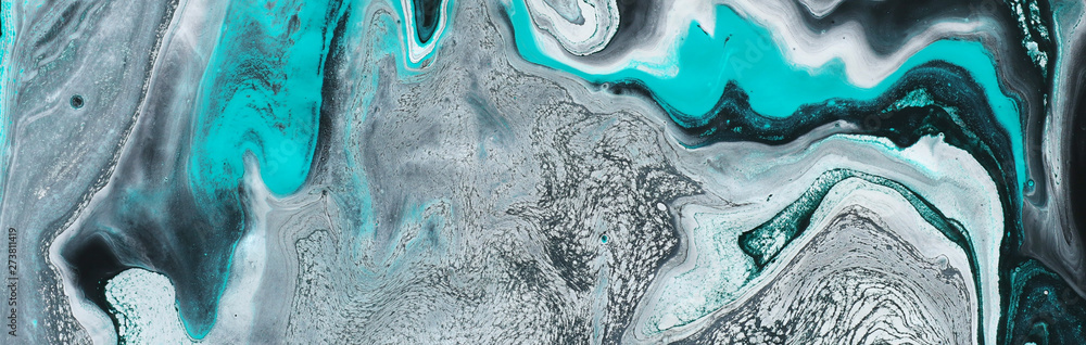 Fototapeta photography of abstract marbleized effect background. black, light turquoise and white creative colors. Beautiful paint. banner