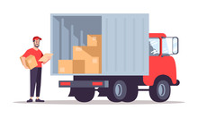 Post Office Courier Flat Vector Illustration