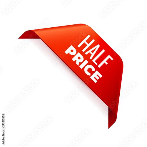 Papel de parede Red Vector Banner Ribbon on white background, corner ribbon, half price