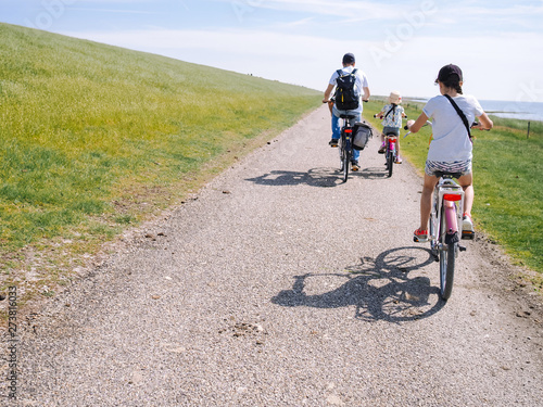 Obraz na plátně  Back view cyclists family traveling on the road in the dune area of Schiermonnikoog island