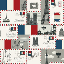 Vector Seamless Background On France And Paris Theme With Envelopes, Architectural Landmarks And Flag Of French Republic In Retro Style. Can Be Used As Wallpaper Or Wrapping Paper