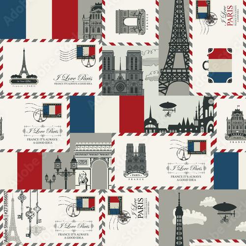 Tapety Francuskie  wektor-bezszwowe-tlo-na-temat-francji-i-paryza-z-koperty-zabytki-architektury-i-flaga-republiki-francuskiej-w-stylu-retro-moze-byc-uzywany-jako-tapeta-lub-papier-do-pakowania