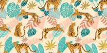 Leopard Pattern With Tropical ...
