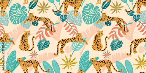 Leopard pattern with tropical leaves. Vector seamless texture. Wallpaper Mural