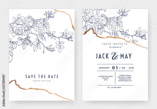 Botanical Wedding Invitation Card Template Design Climbing