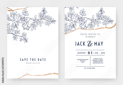 Foto Botanical wedding invitation card template design, bower vine line art ink drawi