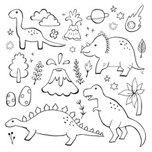 Apatosaurus Triceraptor And Angry Tyrannosaurus Rex With Open Huge Mouth Sketch. Hand-drawn Dinosaur Set. Animal Vector Illustration