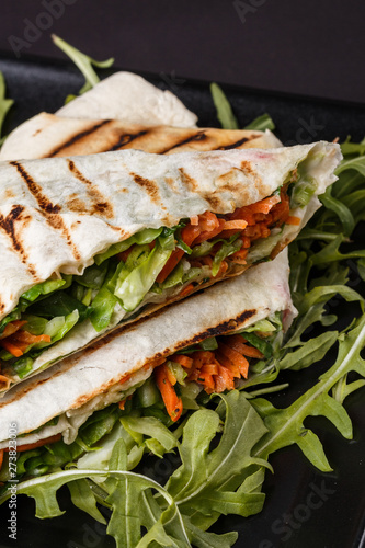Poster Picnic Vegetarian delicious pita with arugula and carrots