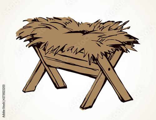 Feeder for livestock. Vector drawing Fototapeta