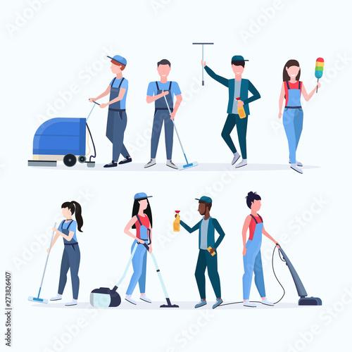 Obraz na płótnie set janitors team cleaning service concept men women mix race cleaners in unifor
