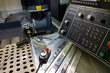 measuring process with ruby touch probe on large CNC milling machine in jog mode
