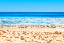 Beautiful Empty Sea And Beach Background. Copy Space. Travel Concept