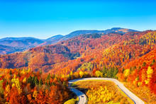 Scenic Alpine Winding Road In Autumn Mountains With Colorful Trees And Blue Sky, Outdoor Travel Background, Narodny Park Slovensky Raj (National Park Slovak Paradise), Slovakia (Slovensko)