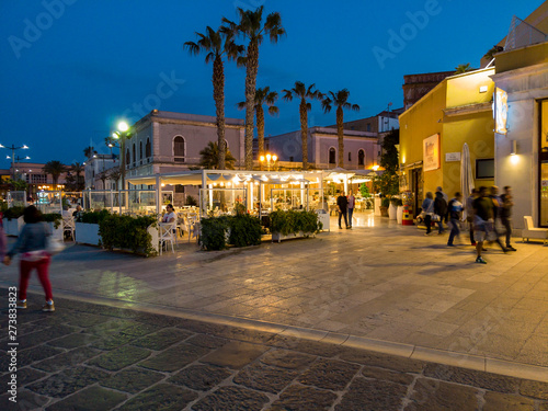 Fotobehang Wenen Restaurants at the The old town, Brindisi, Apulia, Italy June 2019
