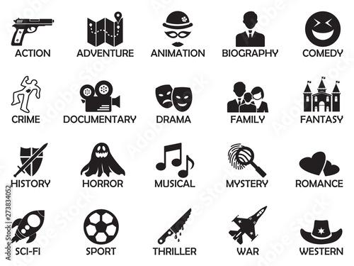 Fotografie, Tablou  Film Genres Icons. Black Flat Design. Vector Illustration.