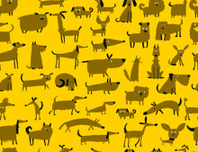 Cute Dogs Collection, Seamless...