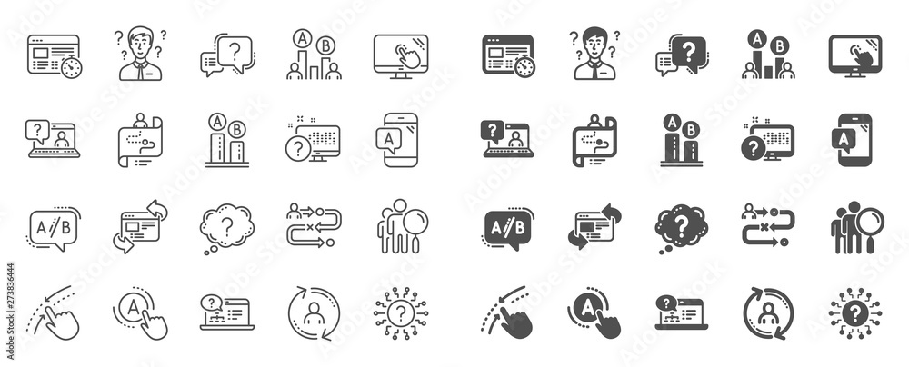 Fototapeta UX line icons. Set of AB testing, Journey path map and Question mark icons. Usability quiz test, Ux Ui and User flow. Project process, ab testing graph, survey test results. Quiz question. Vector