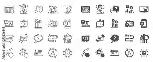 Fototapeta UX line icons. Set of AB testing, Journey path map and Question mark icons. Usability quiz test, Ux Ui and User flow. Project process, ab testing graph, survey test results. Quiz question. Vector obraz