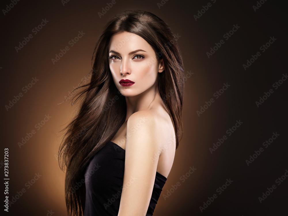 Fototapeta Beautiful hair woman long hairstyle model beauty concept female portrait