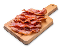 Board With Fried Bacon On White Background