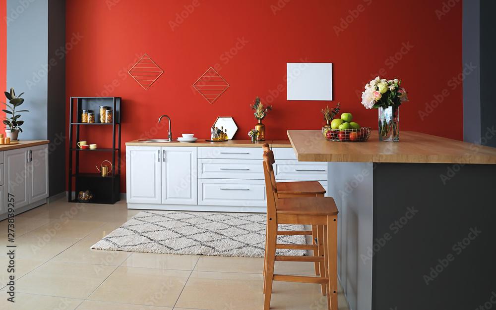 Fototapeta Stylish interior of modern kitchen