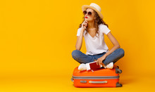 Concept Of Travel. Happy Woman...