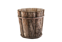 Vintage Wooden Flowerpot Isola...
