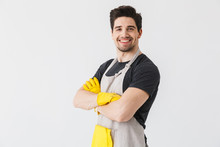 Happy Young Houseman Househusband Isolated Over White Wall Background.