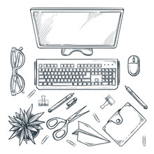 Workplace, Vector Sketch Top V...