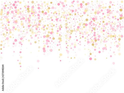 Obraz Rose gold confetti circle decoration for New Year card background.  - fototapety do salonu