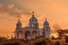 Beautiful Architecture Of Orthodox Christian Church In Sunset, Oromia Region Ethiopia, Africa