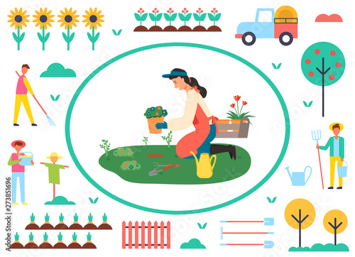 Woman planting flowers vector, farmer in frame, tractor and tree with apples, male with rake, sunflower plantation and fence, scarecrow farming