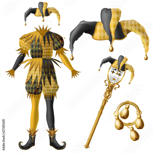 Fototapeta  Medieval jester costume elements, checkered, black and yellow colors hat with be
