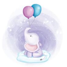 Baby Elephant Held Two Balloon On Cloud