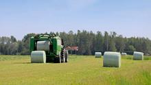 Baler Wrapper Baling Silage In Field