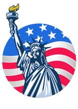Statue Of Liberty With USA Fla...