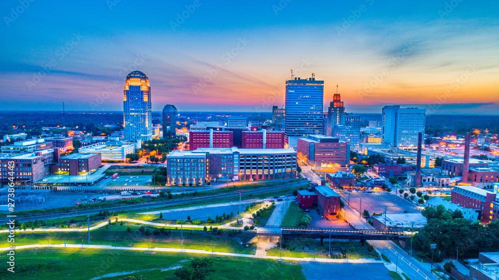 Fototapety, obrazy: Winston-Salem North Carolina NC Skyline Aerial