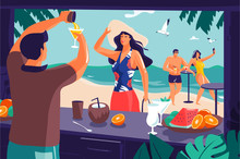 Bartender Preparing Drink In The Beach Bar For Lady In Straw Hat And Blue Floral Swimsuit On Sandy Beach With Couple Of People Making Selfie In Background. Summer Vacation / Holidays Illustration.