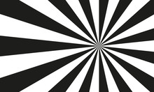 Sun Burst Background With Black And White Rays. Sunburst Or Sunbeam Abstract Pattern. Vector Illustration.