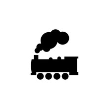 Steam Locomotive Train Icon In Flat Style Vector For Apps, UI, Websites. Black Vector Train Icon