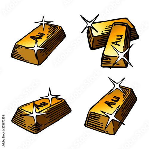 gold brick, gold, aurum, finance, business, bank, color cartoon icon set Canvas Print