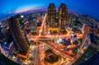 Leinwanddruck Bild - Traffic at Night in Seoul City,South Korea