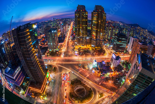 Traffic at Night in Seoul City,South Korea - 273873667