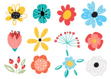 Set Of Decorative Floral Design Elements. Flat Cartoon Vector Illustration. Illustration Of Nature Flower Spring And Summer In Garden.